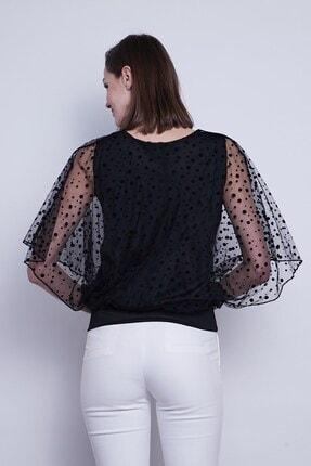 Jument Kadın Organze Desenli Tül Detaylı Kayık Yaka Yarasa Kol Bluz-Siyah Puan 2