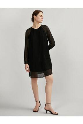 Koton Kadın Siyah Tül Pileli Uzun Kollu Elbise 0
