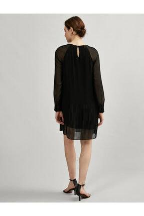 Koton Kadın Siyah Tül Pileli Uzun Kollu Elbise 3