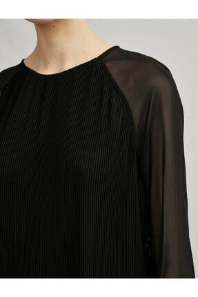 Koton Kadın Siyah Tül Pileli Uzun Kollu Elbise 4