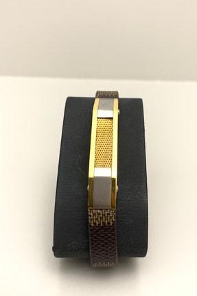 HEDİYELİMANİ Kahverengi Kordonlu Altın Sarı Gümüş Renk Erkek Çelik Bileklik 0