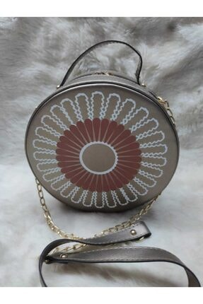 Milara Gümüş Yuvarlak Desenli Çanta Gümüş çanta