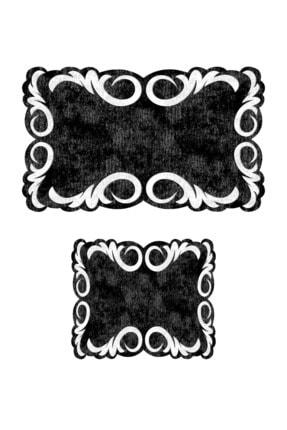 Colizon 60x90 - 50x60 Black & White Dijital Banyo Halısı Lazer Kesim Klozet Takımı 2'li Paspas Seti 1