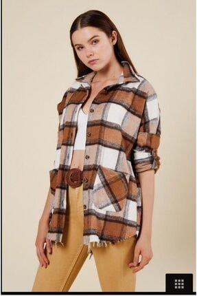 CrocusButik Kadın Kahverengi Kareli Oduncu Gömlek 1