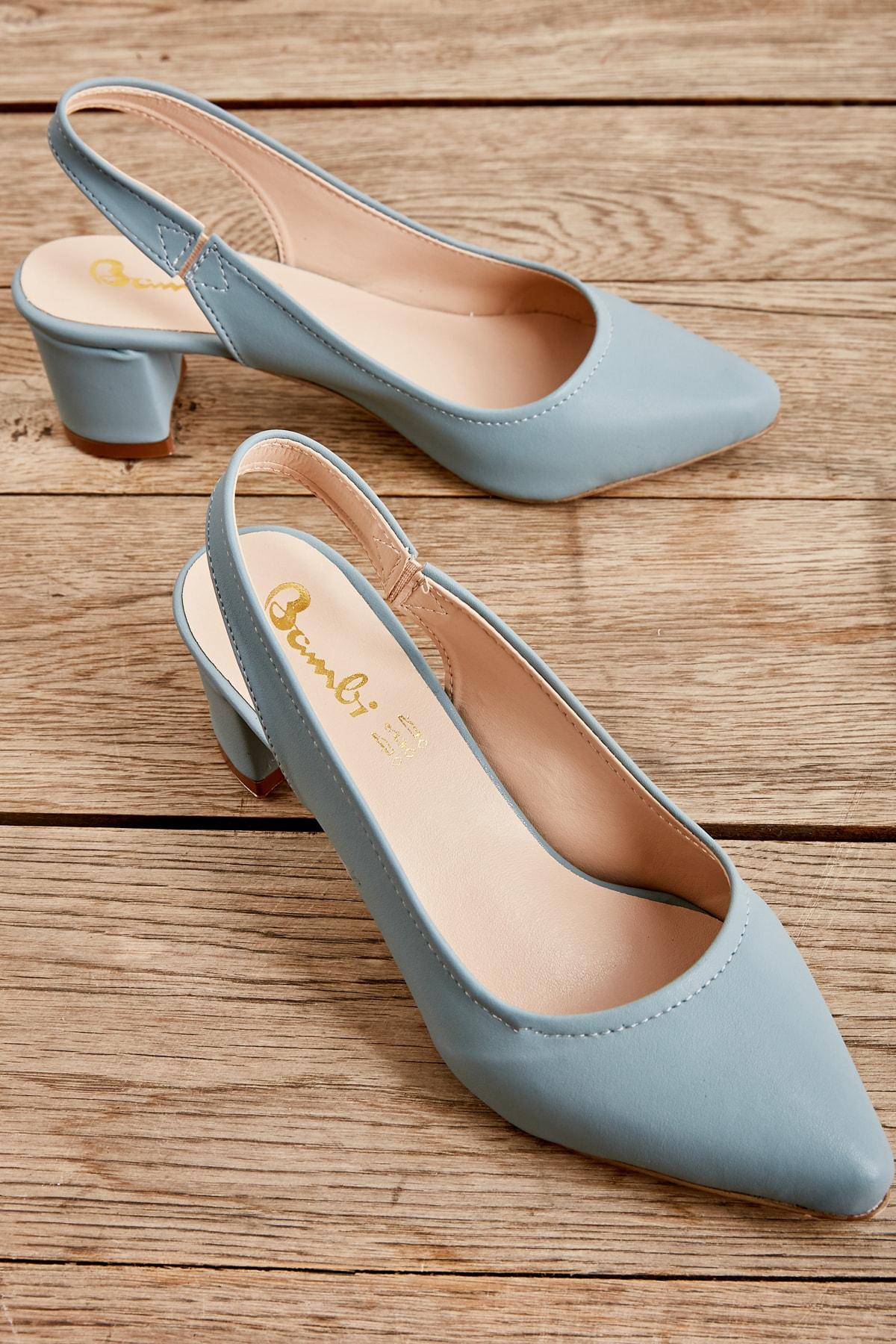Mavi Nubuk Kadın Klasik Topuklu Ayakkabı K01503721071