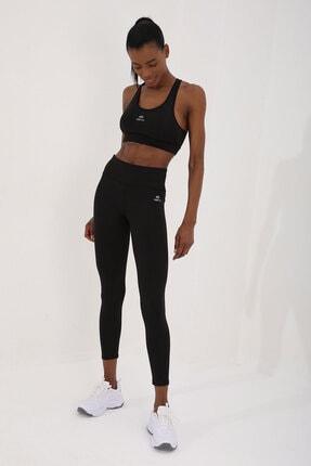 Tommy Life Siyah-siyah Kadın Simli Yüksek Bel Toparlayıcılı Çapraz Sırt Detaylı Tayt Takım - 95282 4