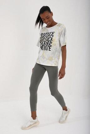 Tommy Life Sarı Kadın Yazı Baskılı Batik Desenli Oversize O Yaka T-shirt - 97126 0
