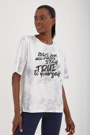 Tommy Life Mor Kadın Yazı Baskılı Batik Desenli Oversize O Yaka T-shirt - 97125 4