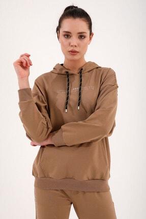 Tommy Life Toprak Kadın Kapüşonlu Kanguru Cep Oversize Lastik Paça Eşofman Takımı - 95288 2