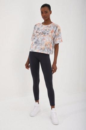 Tommy Life Turuncu Kadın Yazı Baskılı Karışık Batik Desenli Oversize O Yaka T-shirt - 97129 0