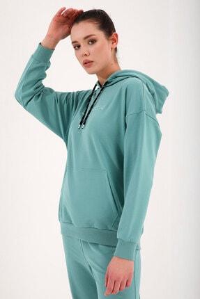 Tommy Life Mint Yeşil Kadın Kapüşonlu Kanguru Cep Oversize Lastik Paça Eşofman Takımı - 95288 2