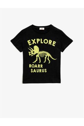 Koton Erkek Çocuk Siyah Baskılı  Pamuklu Kisa Kollu Bisiklet Yaka T-Shirt 0