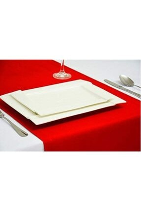 DECORTEX Dekoratif Özel Tasarım Runner Masa Örtüsü Kırmızı 40 X 150 cm 2