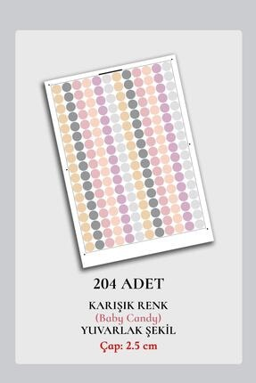 Norm Design Pembe 204 Adet Candy Soft Renkli Yuvarlak Duvar Stickerı 1