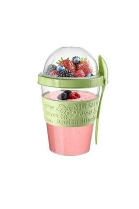 PEAKGİFT Take'n Go Kapaklı Kaşıklı Hazırla Ve Çık Meyveli Yoğurt Kabı 600 Ml-yeşil 1
