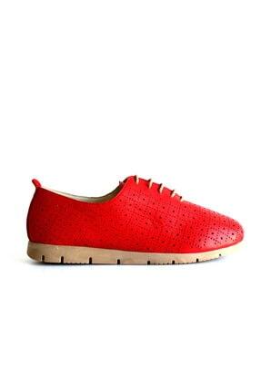 Beta Shoes Hakiki Deri Kadın Günlük Ayakkabı Kırmızı 1