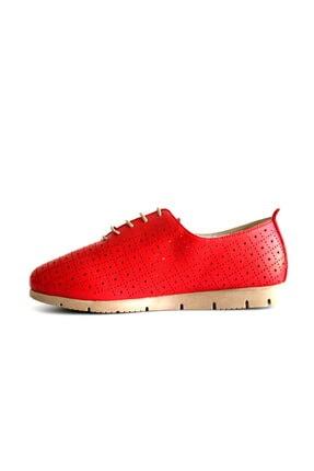 Beta Shoes Hakiki Deri Kadın Günlük Ayakkabı Kırmızı 2