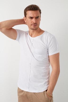 Buratti Erkek Beyaz Pamuklu Bisiklet Yaka Cepli T-Shirt 1