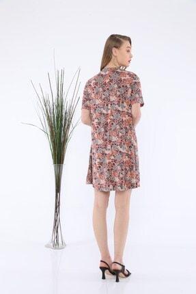Tiefti Kadın Kahverengi Çiçekli Elbise 1
