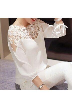 Mina Tasarım Kadın Beyaz Dantelli Bluz 0