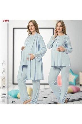 Nehir Hamile  Pijama Sabahlık Takımı 3 lü 0