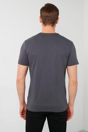 Buratti Erkek Gri Pamuklu Bisiklet Yaka Cepli T-Shirt 3