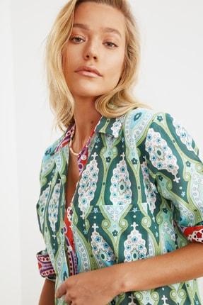 TRENDYOLMİLLA Yeşil Etnik Baskılı Uzun Vual  Kimono&Kaftan TBESS20KM0017 2