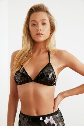 TRENDYOLMİLLA Siyah Payetli Üçgen Bikini Üstü TBESS20BU0184 0