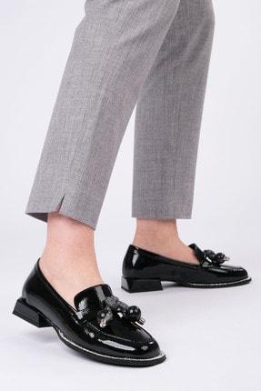 Marjin Kadın Siyah Rugan Loafer Ayakkabı Favol 1