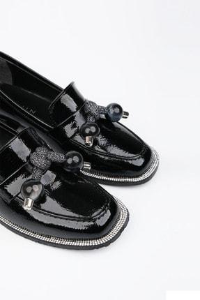 Marjin Kadın Siyah Rugan Loafer Ayakkabı Favol 2