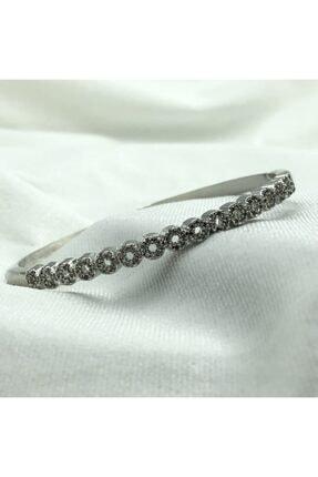 1001TAKI Kadın Gümüş Kelepçe Model Zirkon Taşlı Çelik Bileklik Bb1238 0