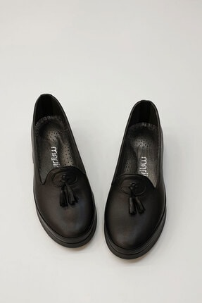 Marjin Sore Kadın Hakiki Deri Comfort Ayakkabısiyah 1