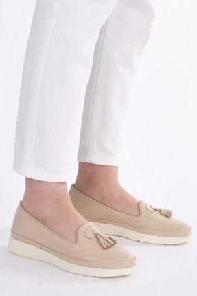 Marjin Kadın Bej Hakiki Deri Comfort Ayakkabı Sore 1