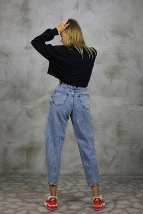 Grenj Fashion Kadın Açık Mavi Kar Yıkama Önü Pileli Yüksek Bel Balon Jean Pantolon 3