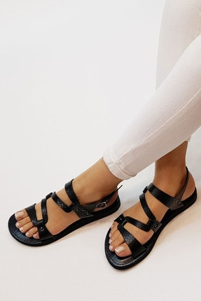 Marjin Kadın Siyah Yılan Hakiki Deri Günlük Sandalet Perte 0