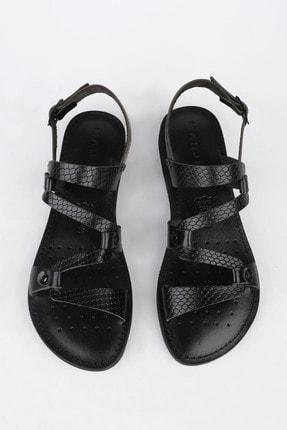 Marjin Kadın Siyah Yılan Hakiki Deri Günlük Sandalet Perte 1