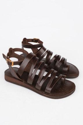 Marjin Kadın Kahve Hakiki Deri Günlük Sandalet Saper 1