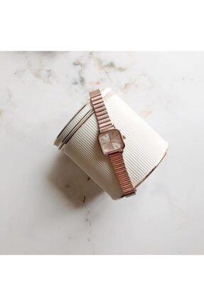 OQQO Minimal Kare Rose Gümüş Kadın Kol Saati 4