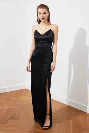 TRENDYOLMİLLA Siyah İnci Askılı Abiye & Mezuniyet Elbisesi TPRSS20AE0127 0