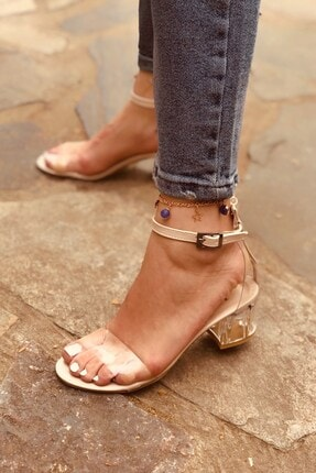 Huella Kadın Yazlık Krem Şeffaf Topuklu Ayakkabı 0