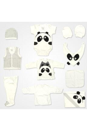 Bebbek Panda Desenli Hastane Çıkış Seti 10'lu - Siyah 0