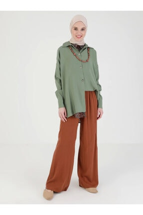 Loreen Kadın Kiremit Beli Lastikli Pantolon 3