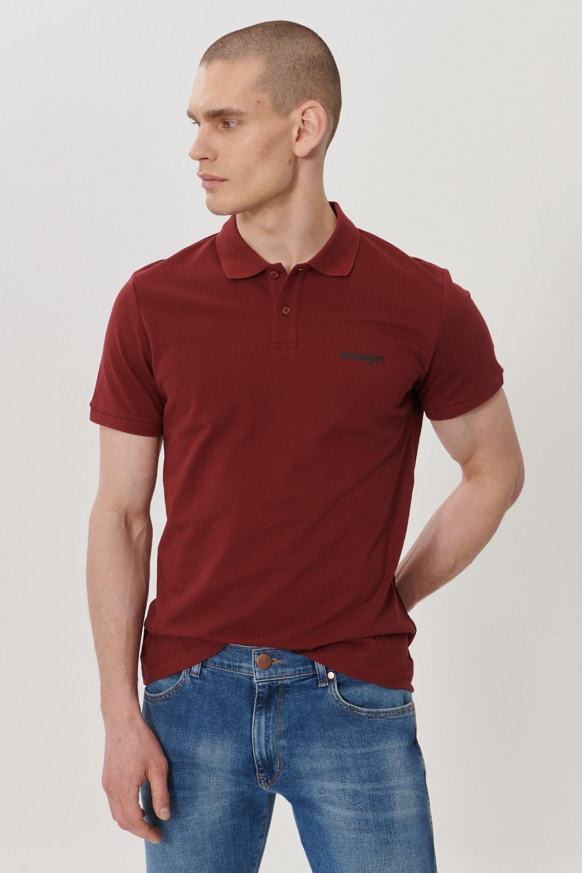 Wrangler Erkek Bordo Regular Fit Polo Yaka T-Shirt 0