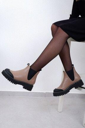 Tinka Bell Shoes 0557 Kadın Bot Vizon Cilt 1