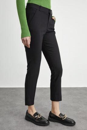 adL Kadın Siyah Paçası Yırtmaçlı Cepli Pantolon 3