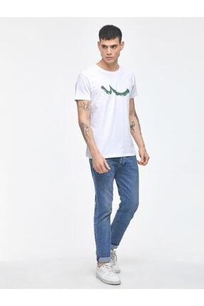 Ltb Erkek  Beyaz  Baskılı  Kısa Kol Bisiklet Yaka T-Shirt 012208453260890000 2