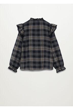 Mango Kız Çocuk Siyah Ekoseli Fırfırlı Gömlek 3