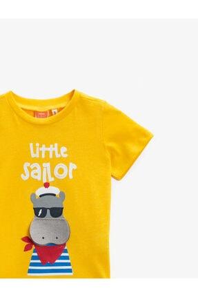 Koton Erkek Bebek Sarı Baskılı Yazılı Pamuklu T-Shirt 2