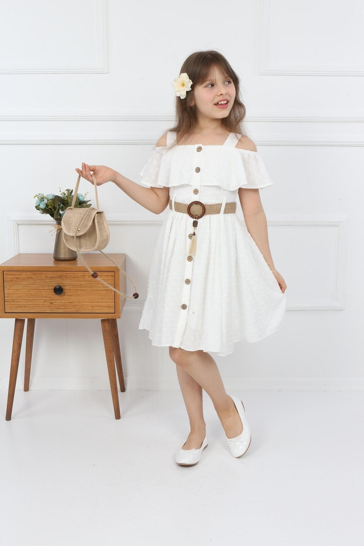 Kız Çocuk Çantalı Boydan Düğmeli Elbise