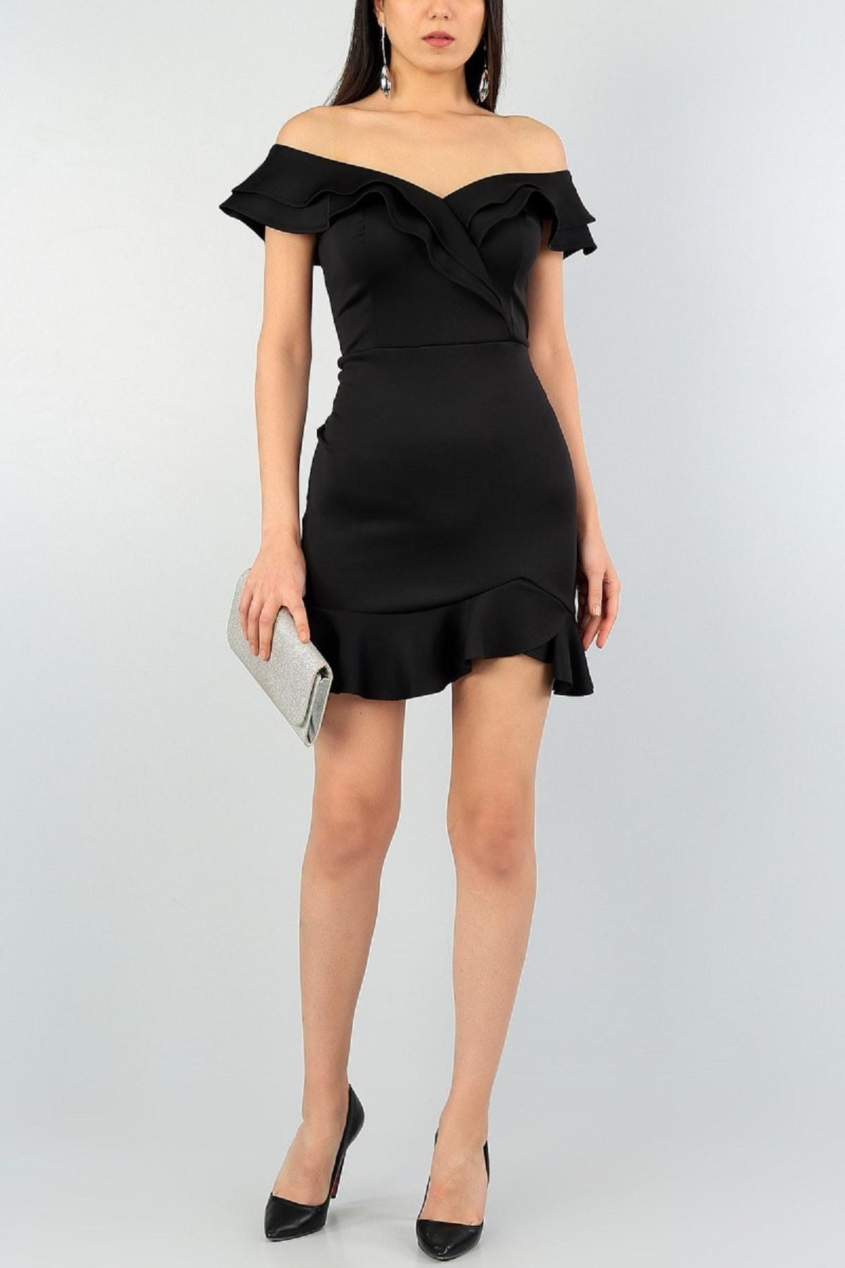 Kadın Siyah Esnek Scuba Kumaş Etek Ucu Ve Göğüsü Volan Detay V Yaka Abiye Elbise